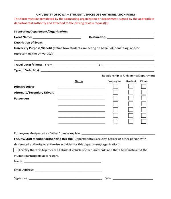 fillable vehicle use authorization form