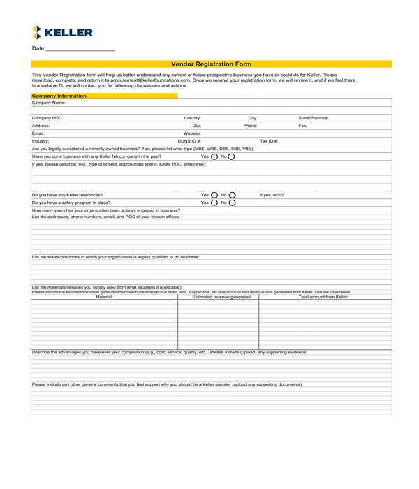 fillable vendor registration form