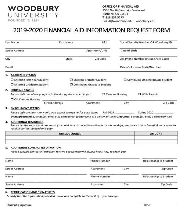 financial aid information request form