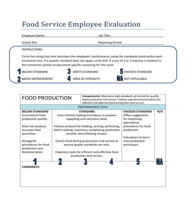 food service employee evaluation form