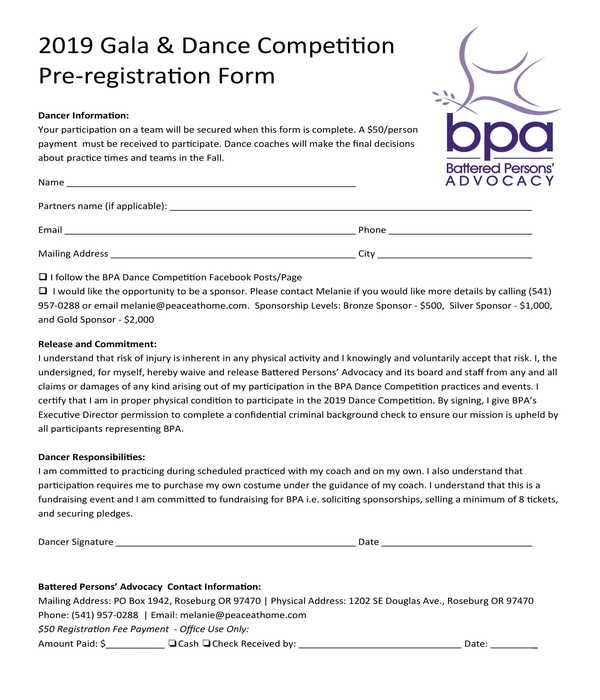 gala and dance competition pre registration form