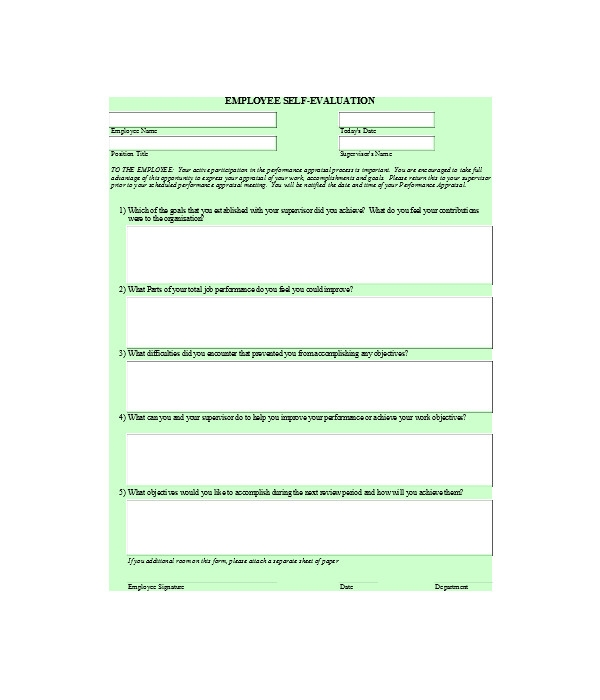 general employee self evaluation form