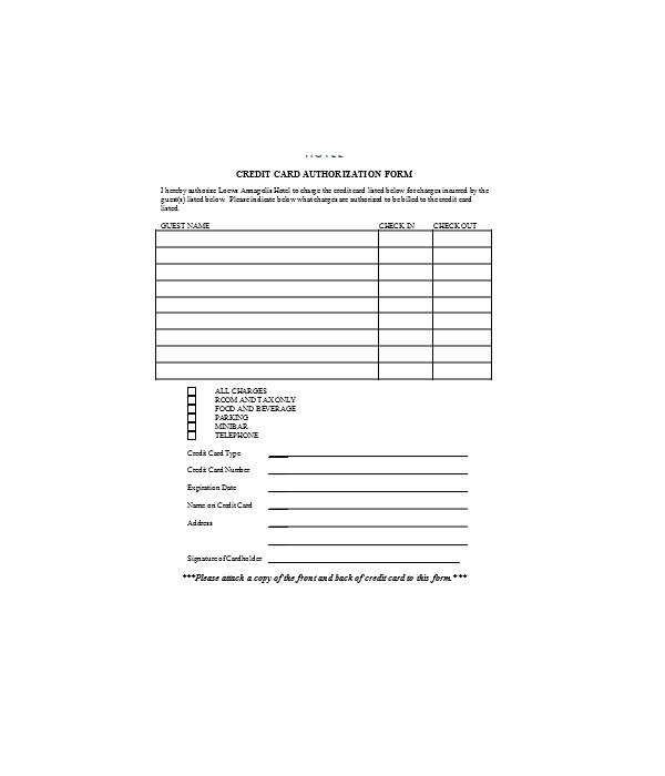 general hotel credit card authorization form
