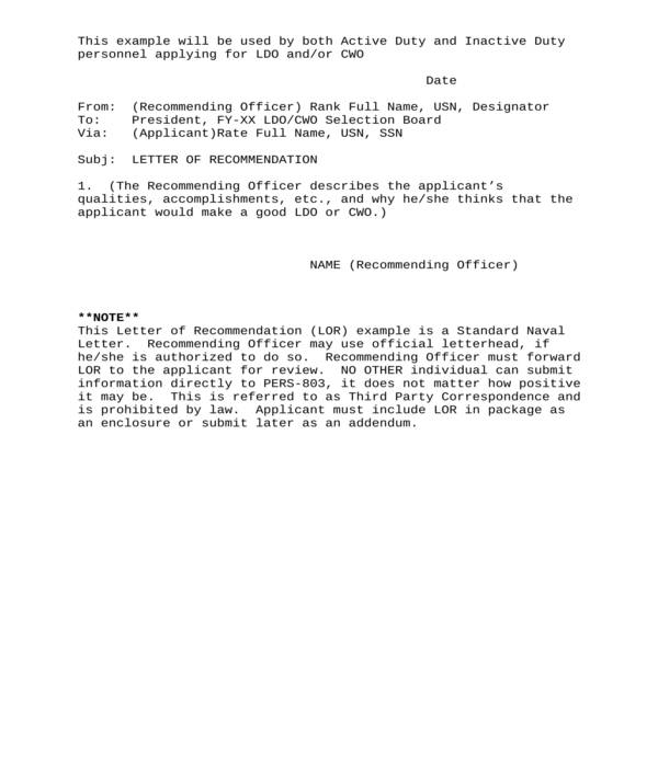 general military letter of recommendation sample