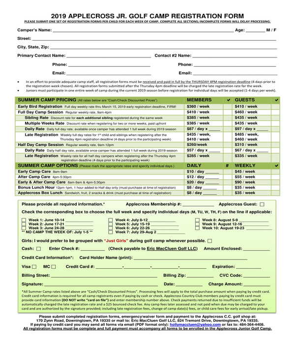 golf camp registration form