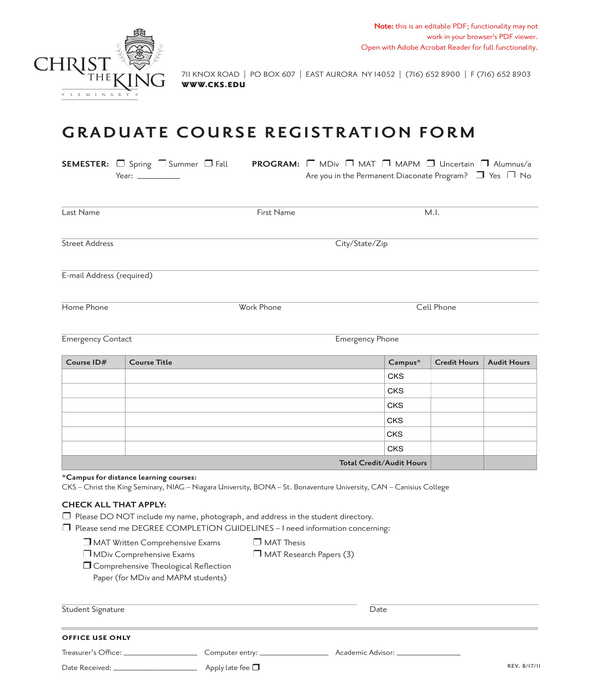 graduate course registration form