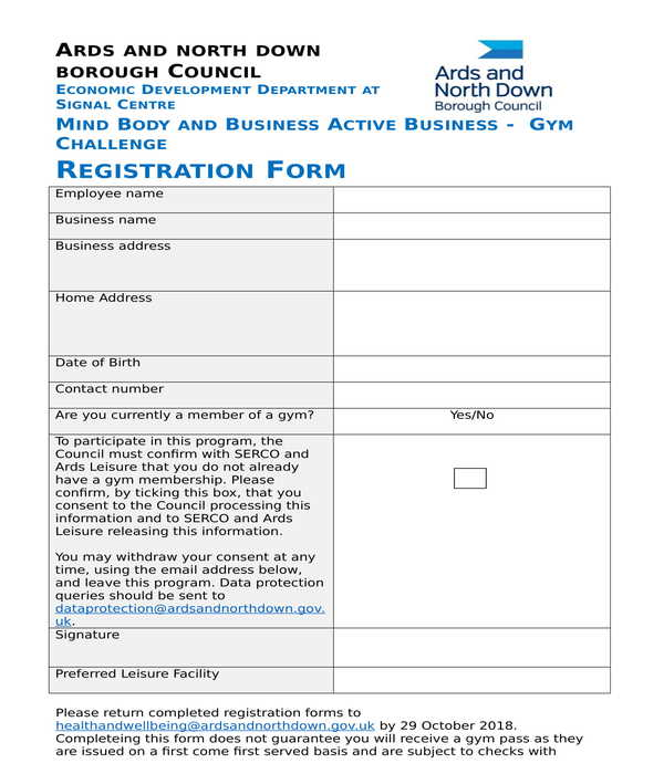 gym challenge registration form