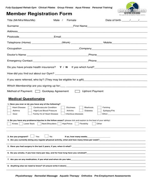 gym member registration form