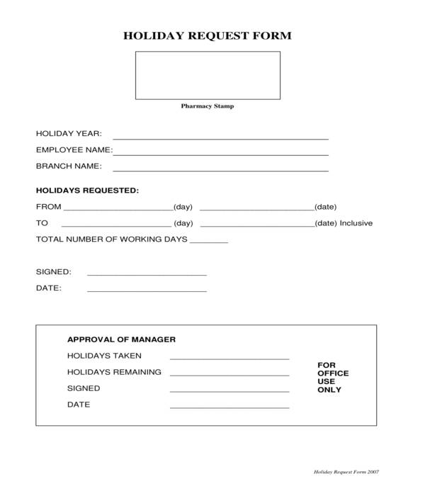 holiday request form sample
