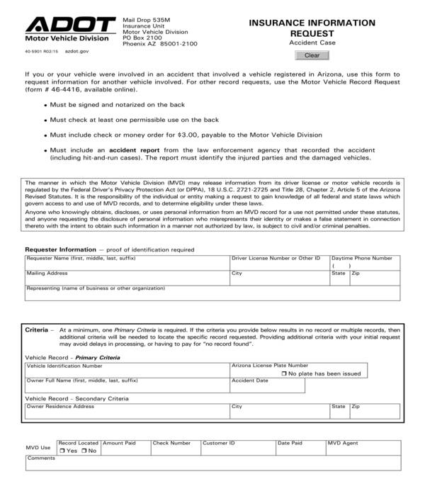 insurance information request form