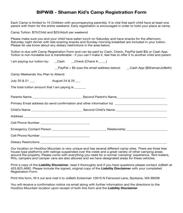 kid's camp registration form