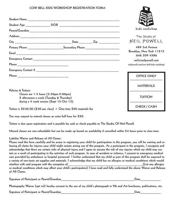 kids workshop registration form
