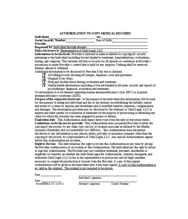 medical copy records authorization form