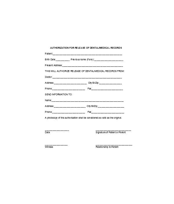 medical release records authorization form