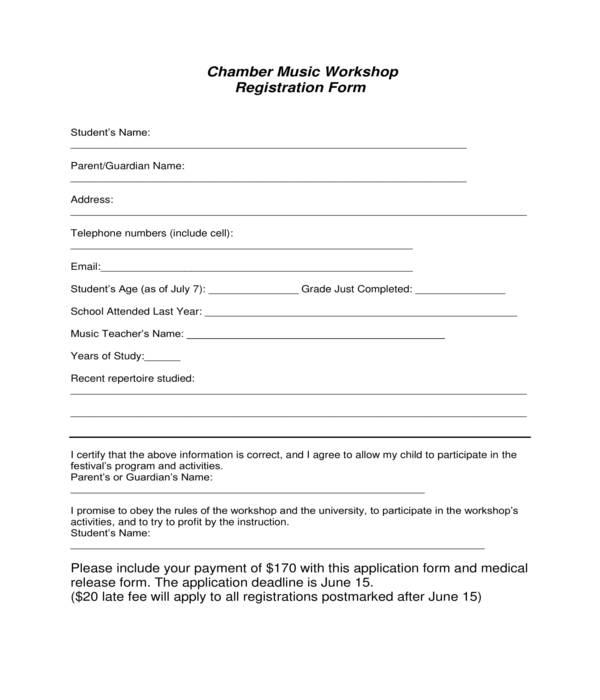 music workshop registration form