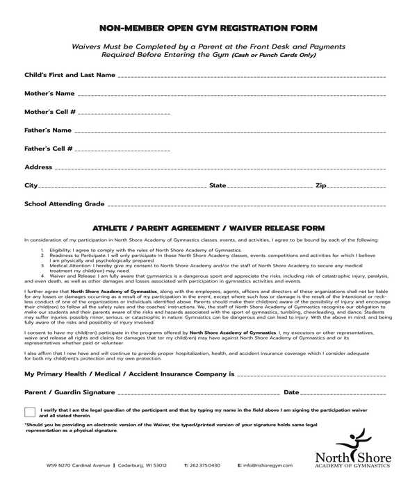 non member gym registration form