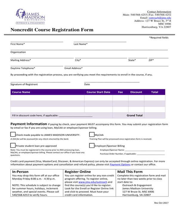noncredit course registration form
