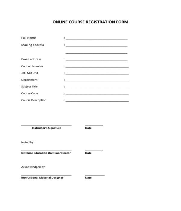 online course registration form