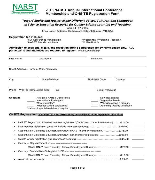 onsite conference registration form