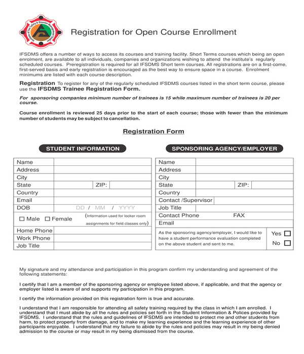 open course enrollment registration form