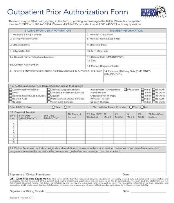 outpatient prior authorization form