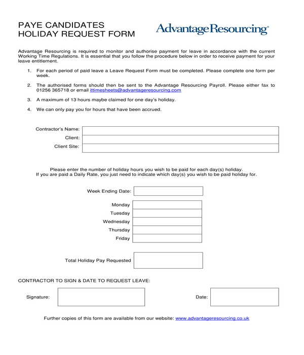 payee candidates holiday request form