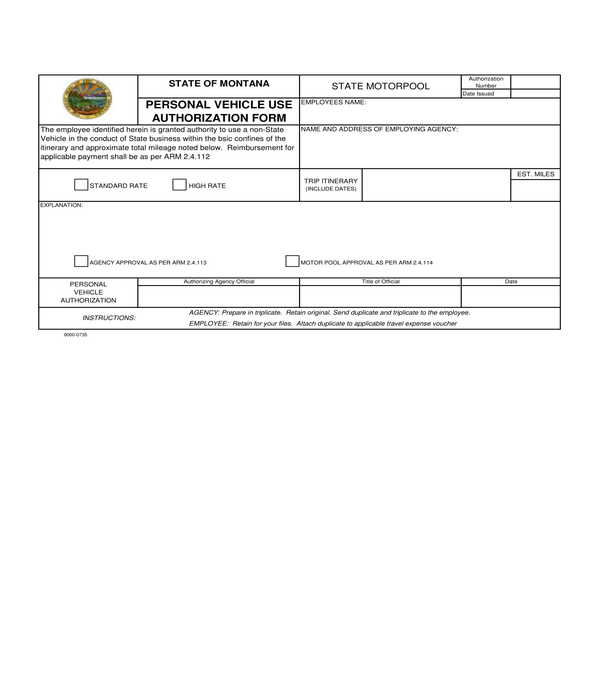 personal vehicle use authorization form