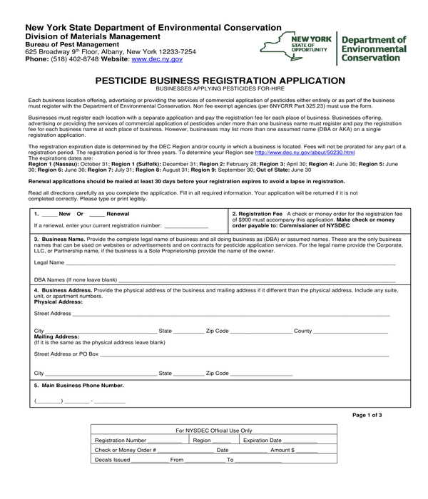 pesticide business registration application form