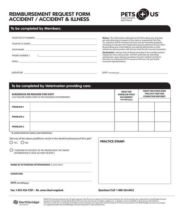pet accident illness reimbursement request form