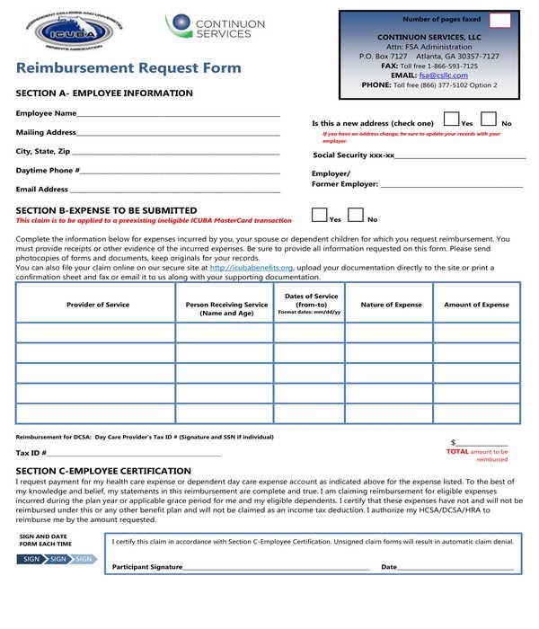 reimbursement request form sample