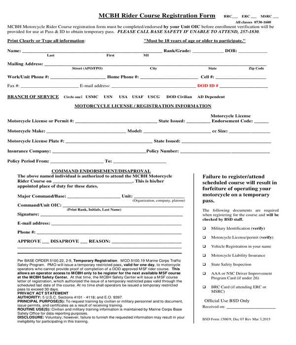 rider course registration form