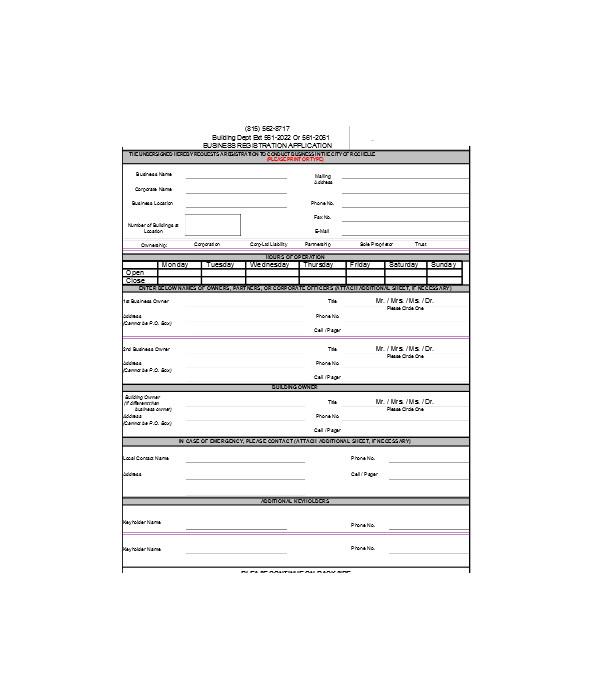 simple business registration form
