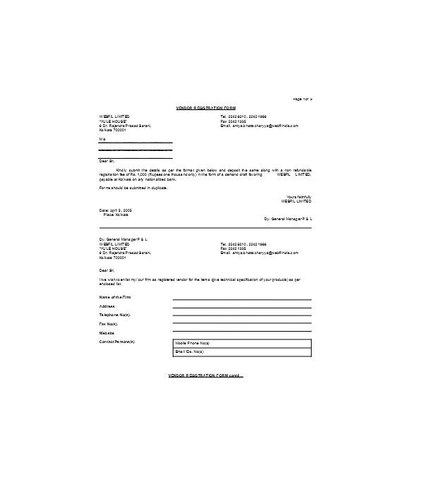 simple vendor registration form