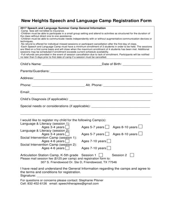 speech and language camp registration form
