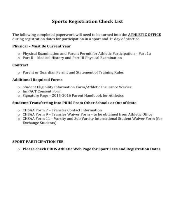 sports registration checklist form