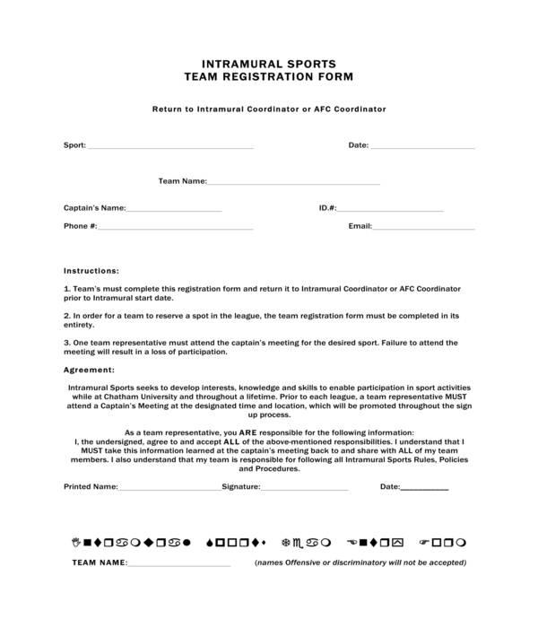 sports team registration form