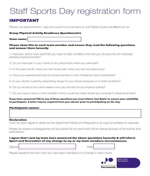 staff sports day registration form