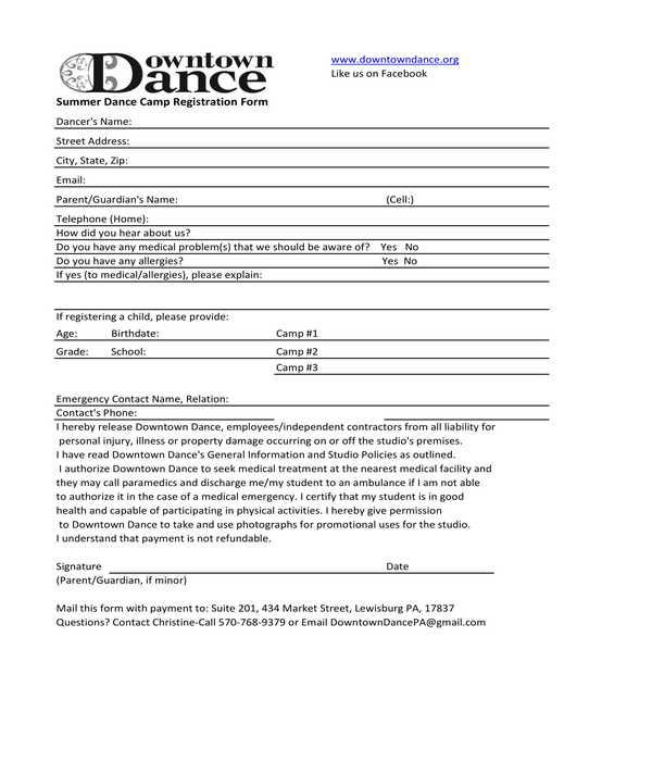 summer dance camp registration form