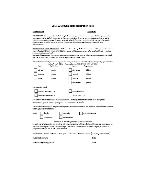 summer sports registration form