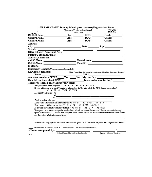 sunday school registration form