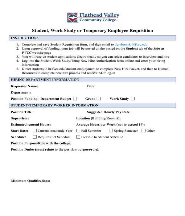 temporary employee requisition form