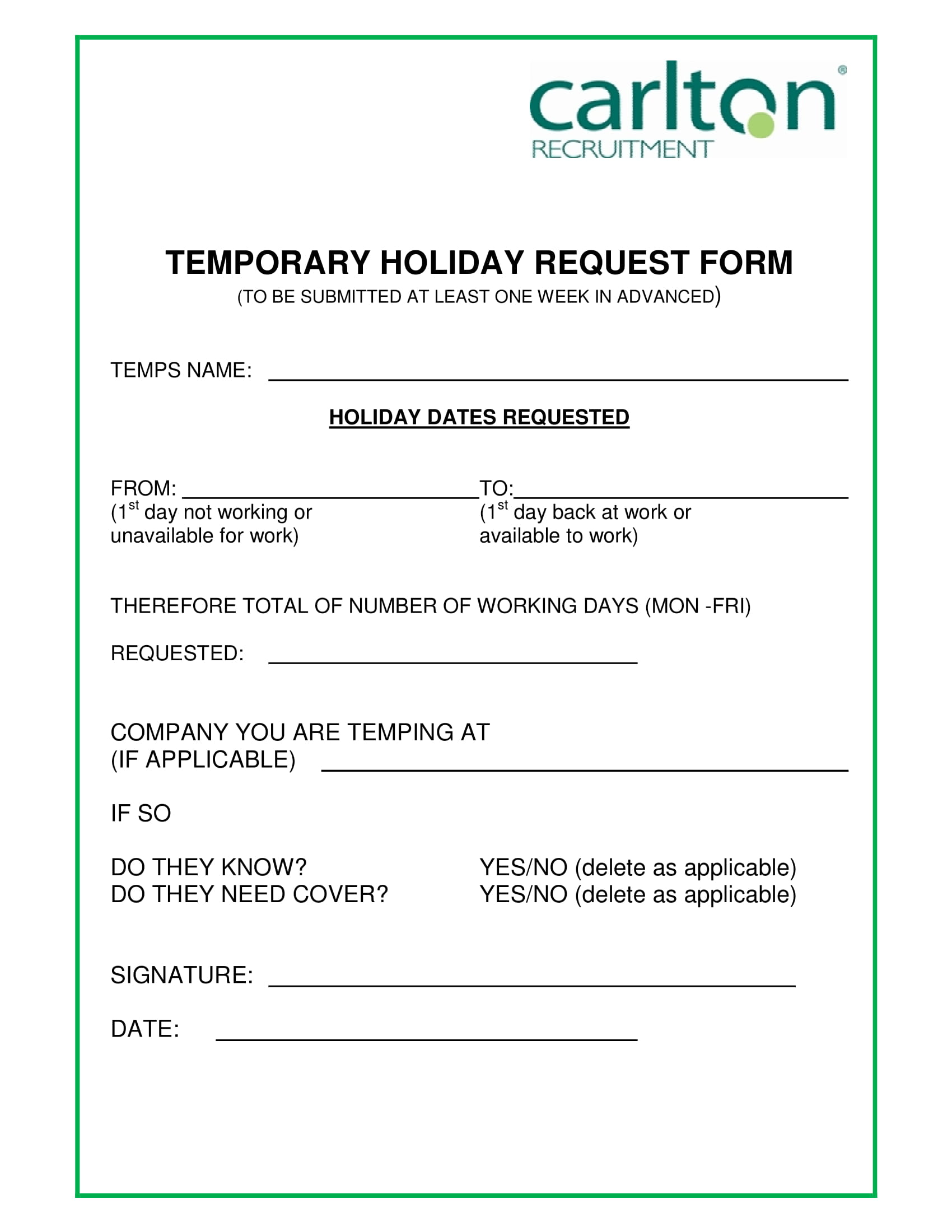 temporary holiday request form