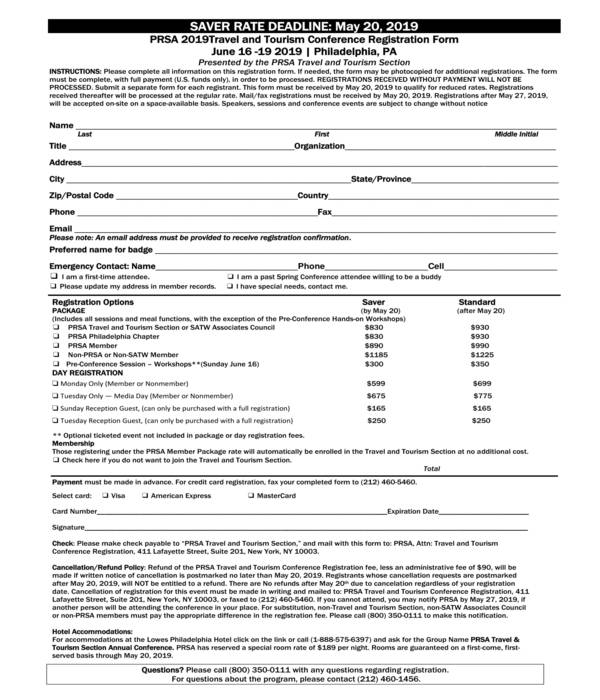 tourism conference registration form