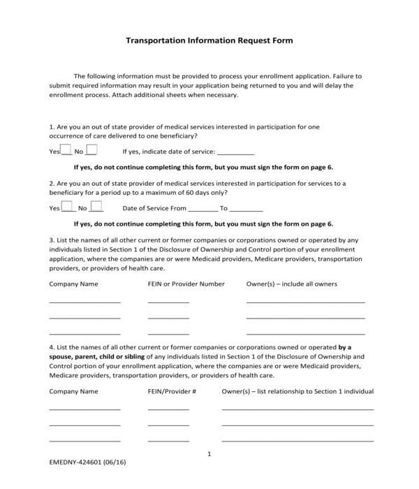 transportation information request form