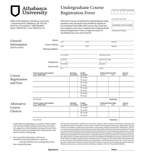 undergraduate course registration form