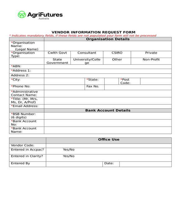 vendor information request form