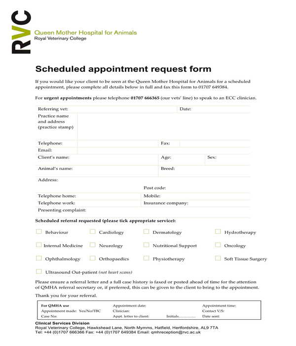 vet scheduled appointment request form