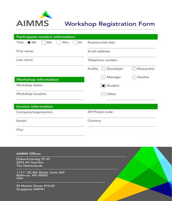 workshop registration form sample