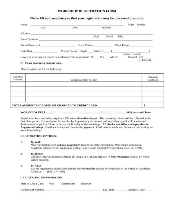 workshop registration form in doc