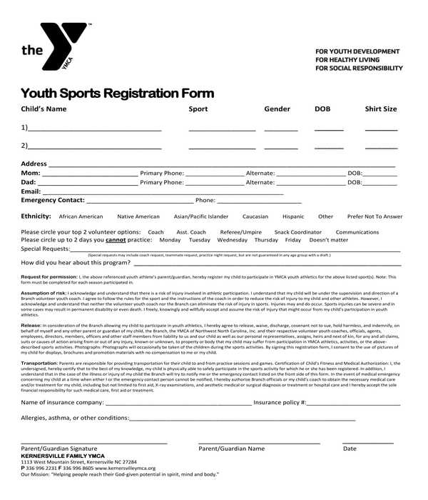 youth sports registration form